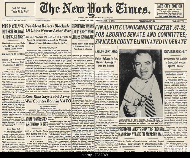 an analysis of the strategies of senator joseph mccarthy in 1954 The fear of communism, known as the red scare, led to a national witch hunt for suspected communist supporters, which was known as mccarthyism.