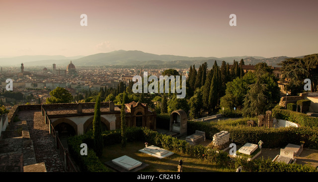 Aerial view of tombs in graveyard - Stock Image