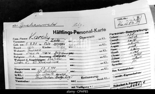 Prisoner identity card of Kolo Karoly, a Norwegian gypsy interred in Buchenwald concentration camp, Buchenwald, - Stock Image