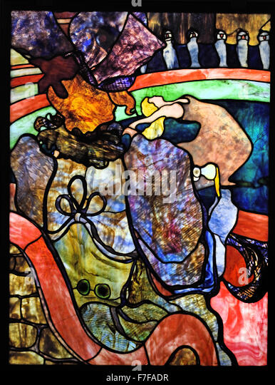 Henri de Toulouse Lautrec 1864 - 1901 Louis Comfort Tiffany 1848 - 1933 New Circus, Papa Chrysanthemum 1894 Stained - Stock Image