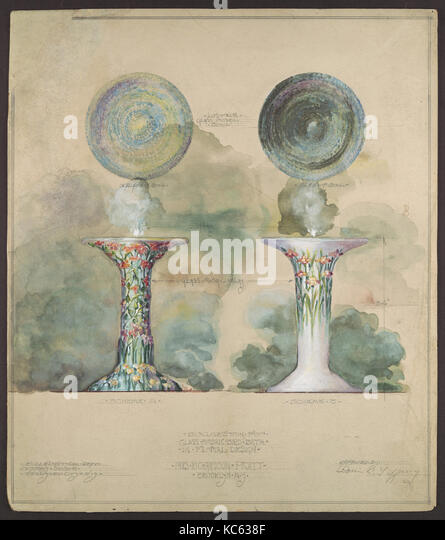 Design for mosaic birdbath, Louis Comfort Tiffany, ca. 1917 - Stock Image