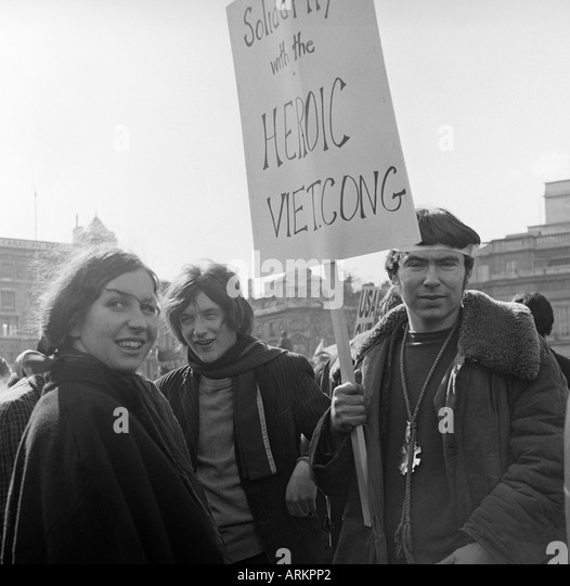 Anti-Vietnam War Demonstrators, London, 17 March 1968. - Stock Image