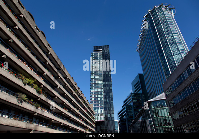 Willoughby House (left), Apartment block, Barbican Centre, with The Heron, Moor Lane (middle) & CityPoint (Right), - Stock Image