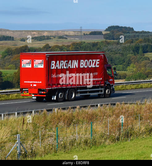Bargain Booze van. M6 Motorway, northbound. Shap, Cumbria, England, United Kingdom, Europe. - Stock Image