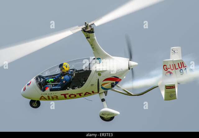 The RotorSport Calidus is a German tandem two-seat autogyro modified in the UK. Flown by Peter Davies of Gyro Air - Stock Image