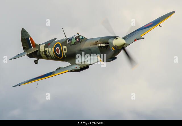 Pilot Dan Griffith flying Spitfire plane operated by the Biggin Hill Heritage Hangar. Space for copy - Stock Image