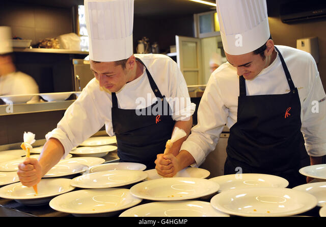 Kitchen at El Celler de Can Roca restaurant in Girona, Catalonia, Spain. - Stock Image