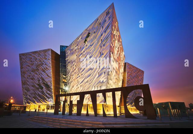 Sunset over Belfast Titanic, Belfast, Northern Ireland, UK - Stock Image