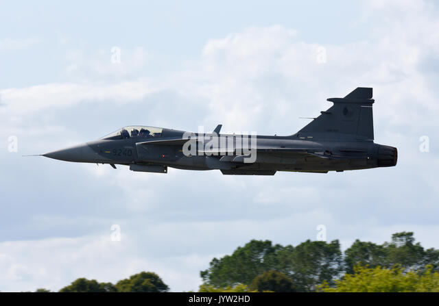 Saab JAS-39 Gripen fighter jet plane of the Czech Air Force displaying at Biggin Hill Festival of Flight airshow. - Stock Image