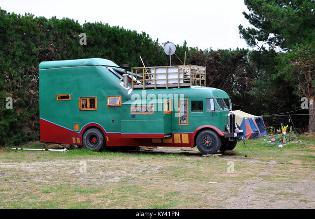 Homemade motorhome campervan motor home camper van using old AEC bus or coach in New Zealand - Stock Image