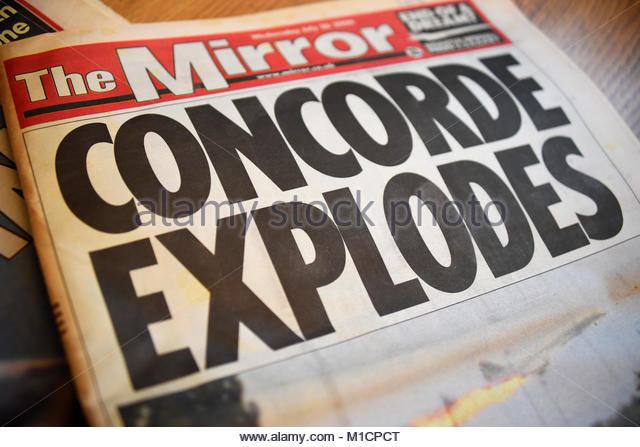 Concorde crash reported in the Mirror newspaper - Stock Image