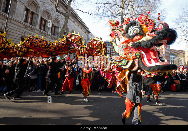 Chinese New Year Parade London 2018. Chinese New Year Dragon - Stock Image