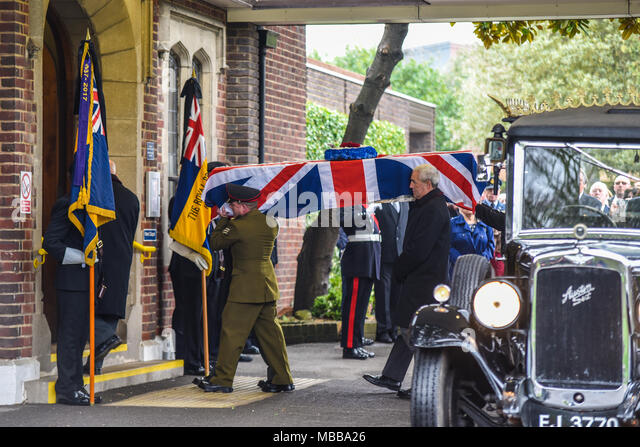 The public were requested to attend the funeral of RAF veteran Leonard John âJasonâ King, 94. Served with 23 Squadron RAF during the war. His carer, Karen Tuck, requested for public attendees via social media the day before, supported by Veterans Honoured, SSAFA and British Legion - Stock Image