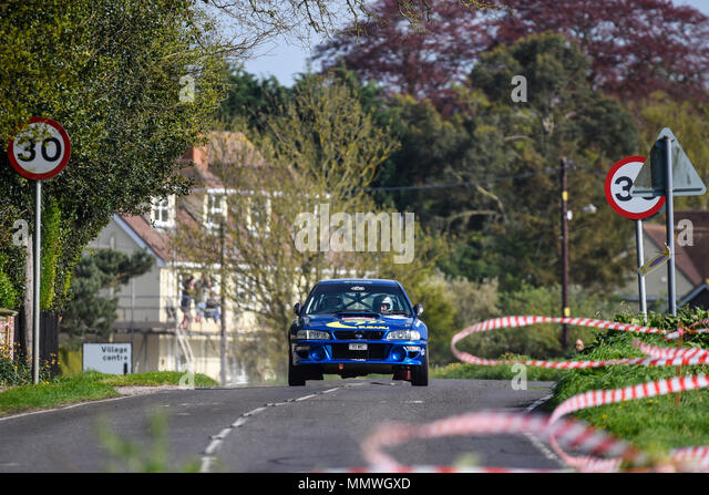 Niall Moroney driver Elgan Davies co driver racing Subaru Impreza WRC in the closed public road Corbeau Seats car Rally Tendring and Clacton, Essex UK - Stock Image
