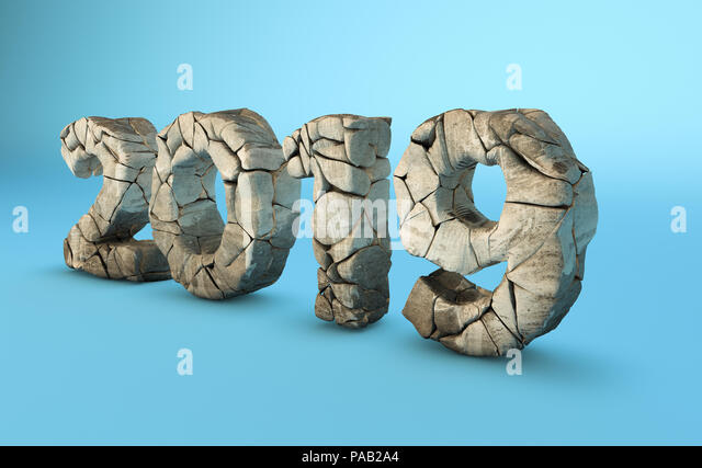 Three dimensional digital art of year 2019 with rocky texture. - Stock Image