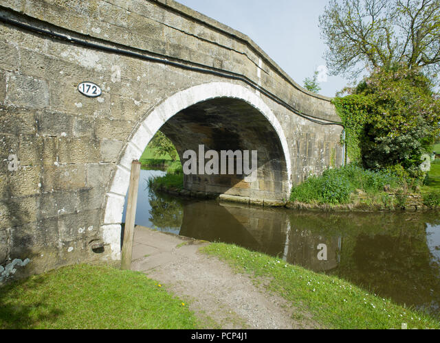 Canal Bridge Leeds Liverpool Canal North Yorkshire UK - Stock Image