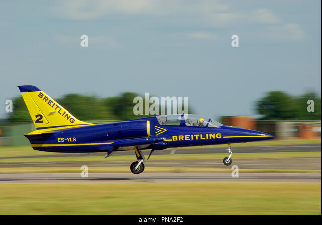 Breitling Jet Team L-39 jet plane landing after displaying at RAF Waddington airshow. Aerovodochody Aero L-39 Albatros jet - Stock Image