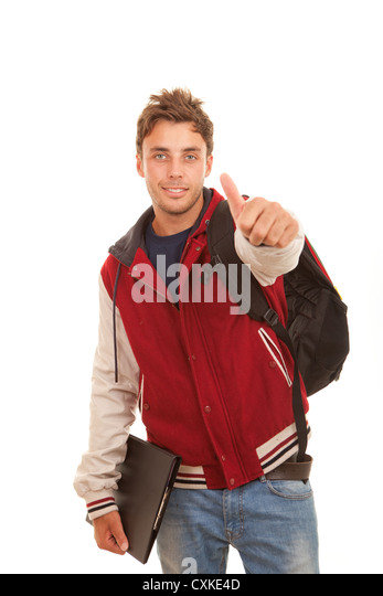 happy student with thumb up - Stock Image