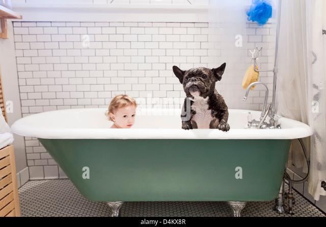 Girl sitting with bulldog in bathtub - Stock Image