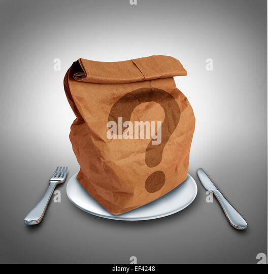 Lunch questions nutrition and dieting conept as a brown bag on a dinner plate with a fork and knife with a question - Stock Image