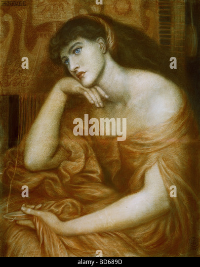 "fine arts, Rossetti, Dante Gabriel (1828 - 1882), painting, ""Penelope"", oil on canvas, 1869, symbolism, - Stock Image"