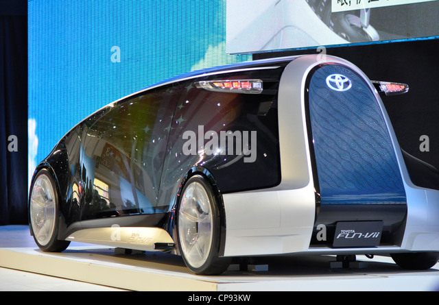 BEIJING - APRIL 29: TOYOTA new serie of double engine drive car with electricity and pertol at the 2012 Beijing - Stock Image