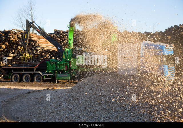 Production of wooden chips, Sweden. - Stock Image