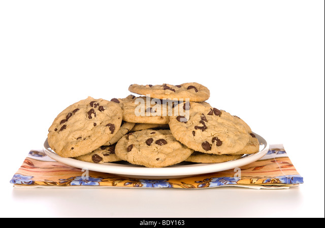 a plate of chocolate chip cookies