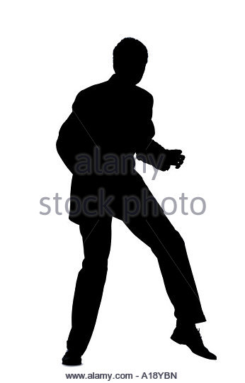 Running man in suit silhouette