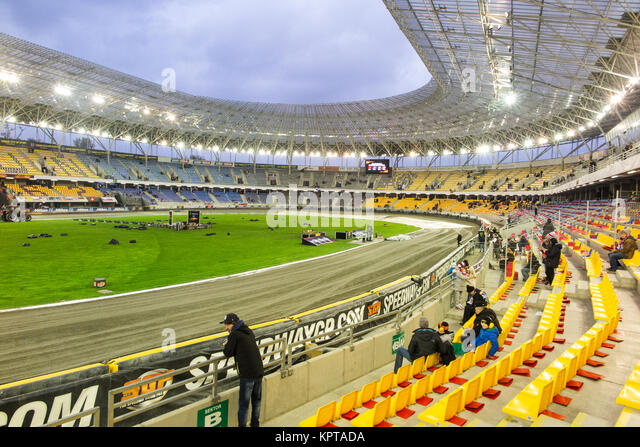 Speedway supporters at the Motoarena Torun Poland  for the Polish speedway grand prix - Stock Image