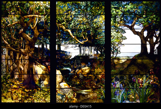 A Wooded Landscape in Three Panels, c. 1905. Artist: Tiffany, Louis Comfort (1848-1933) - Stock Image