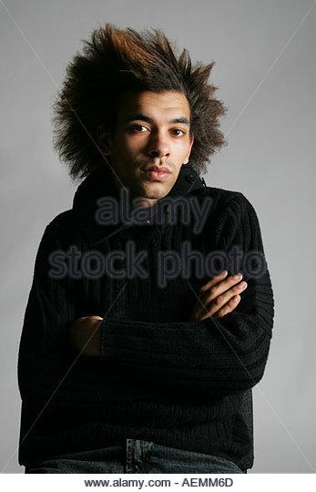 gay male fashion headshot - Stock Image