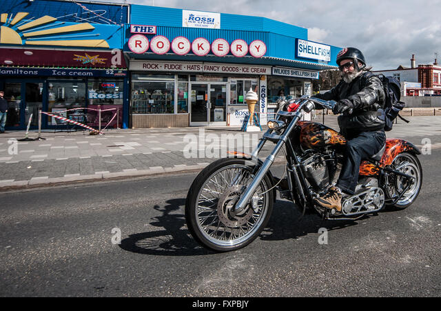 Southend Shakedown is a mass meeting of motorcyclists along the promenade of the Essex seaside town of Southend - Stock Image