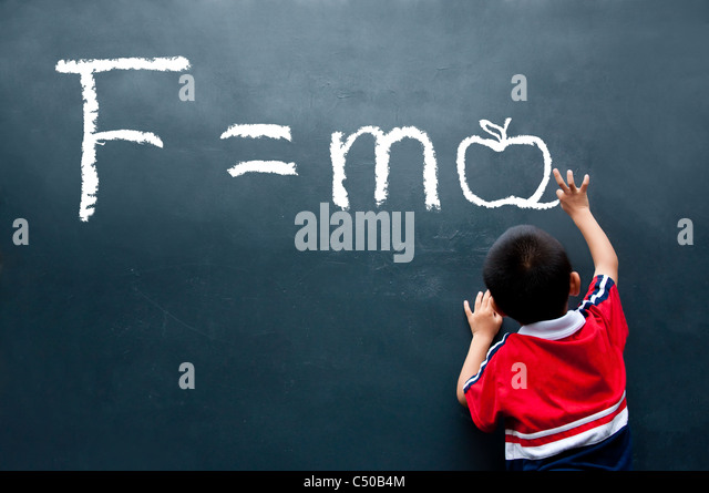 Newton Second law F=ma ( Apple ) - Stock Image