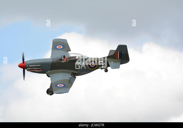 P-51 Mustang fighter with shark mouth design at Duxford - Stock Image