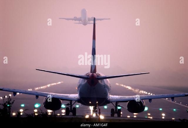 rear-view-as-two-jet-planes-follow-each-