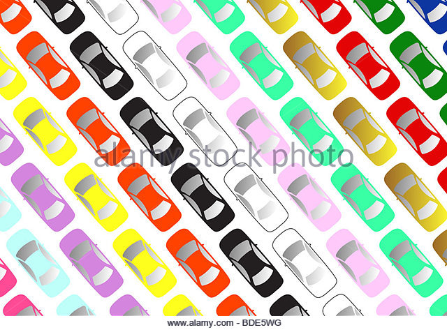 aerial view of carpark - Stock Image