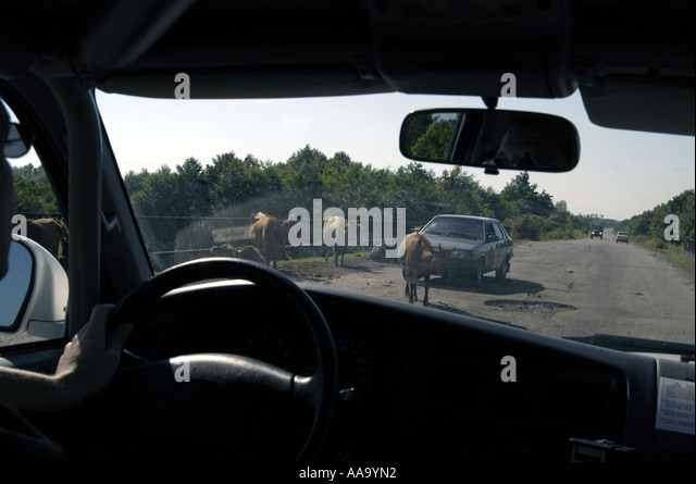 With a UN convoy on the road from Zugdidi to Sukhumi, capital of Abkhazia - Stock Image
