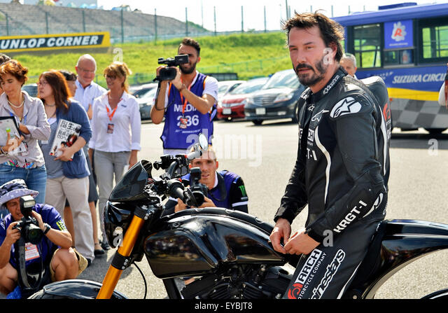 Actor Keanu Reeves test-rides his Arch Motorcycle 'KRGT-1' during the Suzuka 8 Hours FIM Endurance world - Stock Image