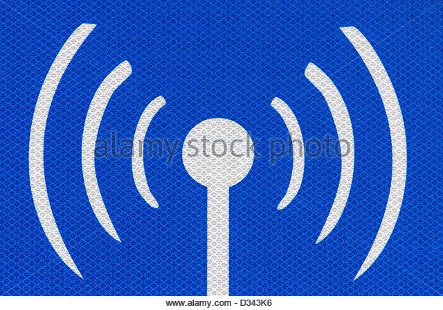 Internet hotspot public access road sign detail. - Stock Image