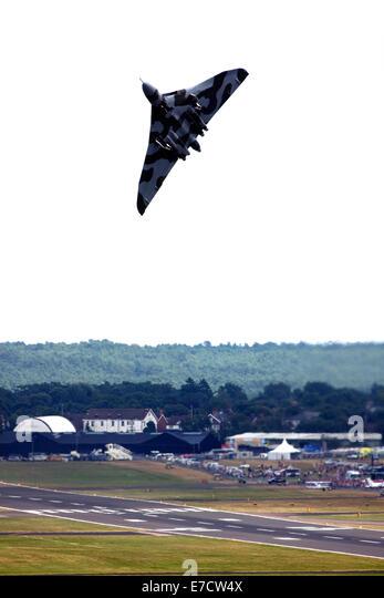 Avro 698 Vulcan B2  strategic bomber taking off at Farnborough International Airshow 2014 - Stock Image