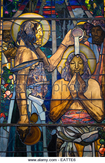 Detail of stained glass 'The Christening' by Louis Comfort Tiffany. - Stock Image