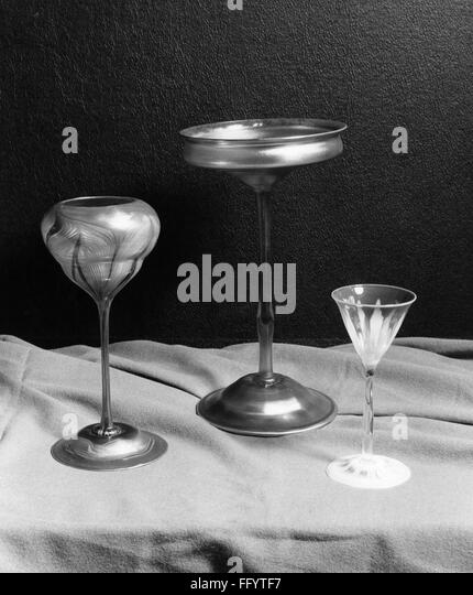 TIFFANY GLASSES. /nThree glasses by Louis Comfort Tiffany. Photograph, c1955. - Stock Image