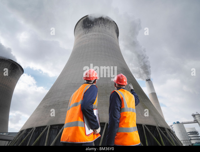 Workers At Coal Fired Power Station - Stock Image