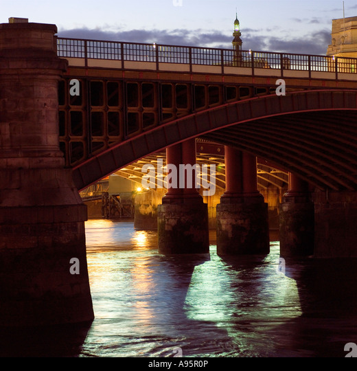2007 View through Blackfriars  Railway Bridge from the south bank of the River Thames. London England UK - Stock Image