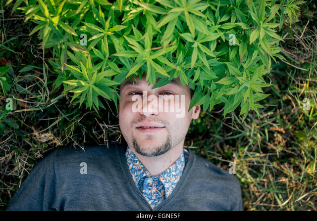Portrait of a young man lying on the ground with leaves o his head - Stock Image