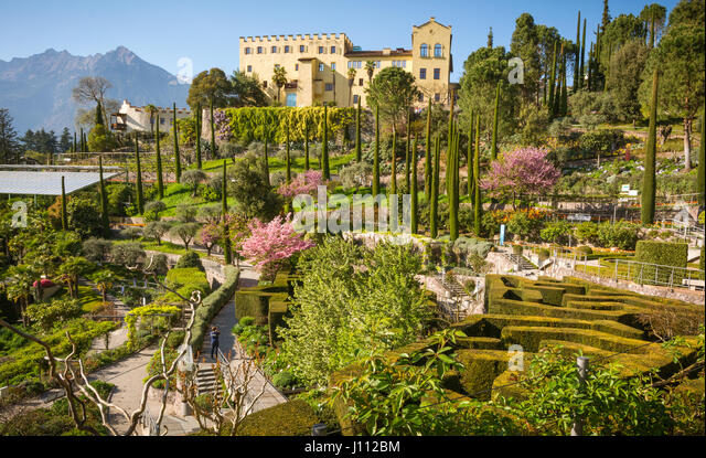 The Botanic Gardens of Trauttmansdorff Castle, Merano, south tyrol, Italy, offer many attractions with botanical species and varieties of plants from  - Stock Image