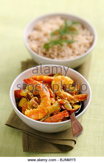 Prawn curry with rice - Stock Image