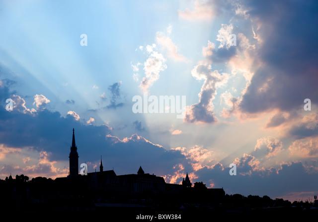 Silhouette of Budapest city skyline with dramatic sky, Hungary - Stock Image