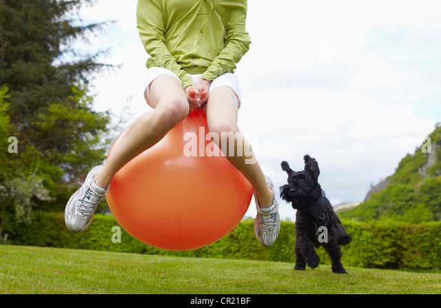 Woman on bouncy ball playing with dog - Stock Image